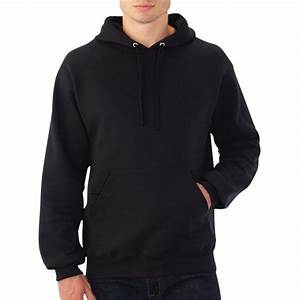 Men Black Solid Hooded Plain Sweatshirt Women Pullover ...
