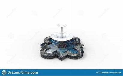 Fountain Isolated Rendering Park Furniture Water Studio