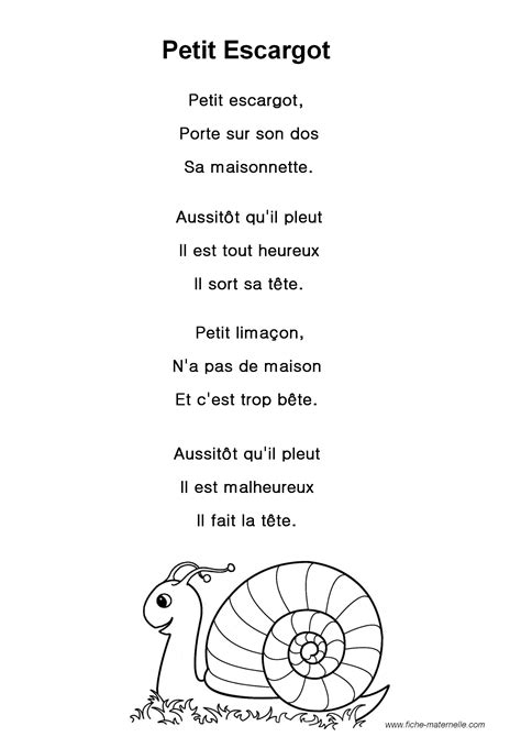 paroles de la chanson quot petit escargot quot