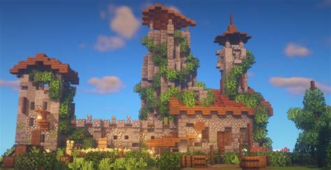 ruined castle wall   small blocky forest minecraftbuilds   minecraft