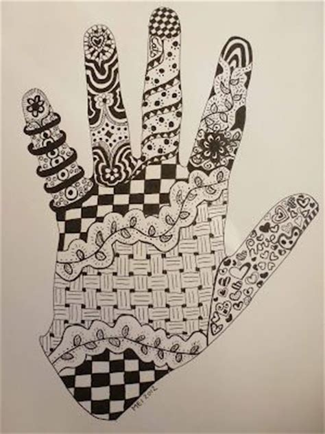 zentangle   hand outline cute  kids art