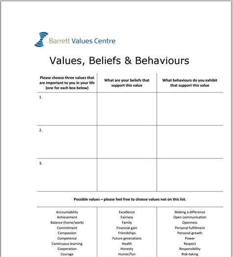 values and goals worksheet the best and most