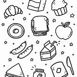 Lunch Doodle Doodles Coloring Colouring sketch template