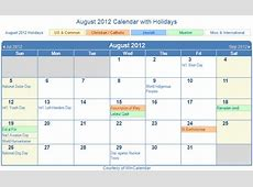 Print Friendly August 2012 US Calendar for printing
