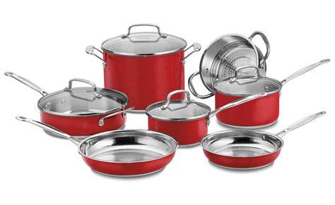 cuisinart chefs classic metallic red cookware set