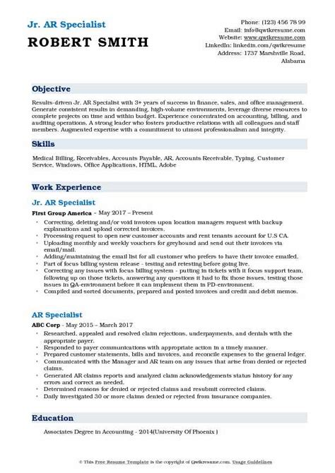 Ar Resume by Ar Specialist Resume Sles Qwikresume