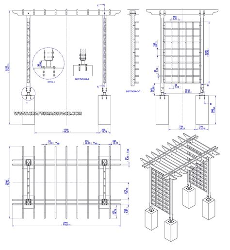 wooden trellis arbor plan assembly  drawing yard