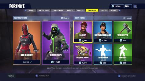 red knight daily item shop today fortnite battle