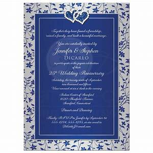25th wedding anniversary invitation 2 royal blue silver With wedding invitation royal blue motif