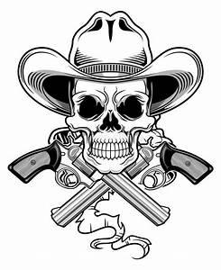 Outlaw skull stock illustration. Illustration of pistol ...