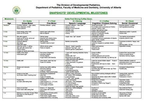 Child Development Milestones Chart 0 5  Assessment Of