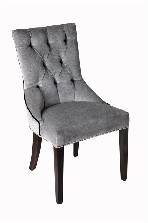 high tufted back grey upholstered dining room chairs with