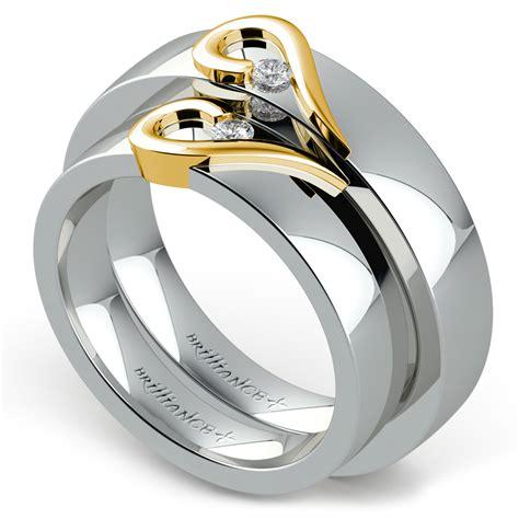 matching curled heart diamond wedding ring set  white