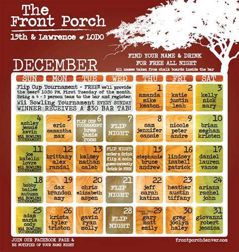 Front Porch Calendar by December Calendar Published Front Porch Denver Bar