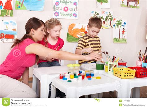 art class for preschoolers children painting with in class stock photo 517