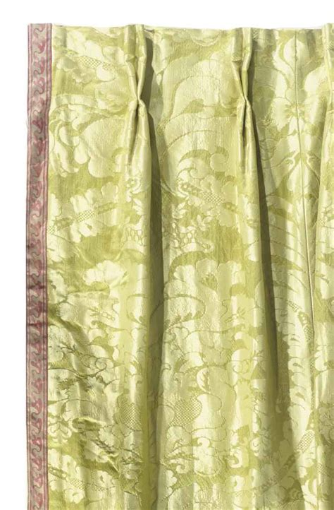 a pair of lime green silk damask curtain panels late