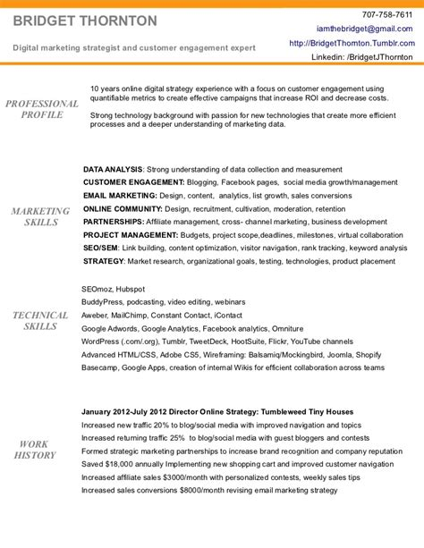 Digital Resume Exles by Digital Marketing Resume Of Bridget Thornton
