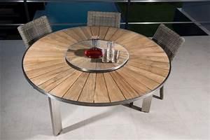 Table Ronde En Teck : table ronde en teck et en inox ~ Teatrodelosmanantiales.com Idées de Décoration
