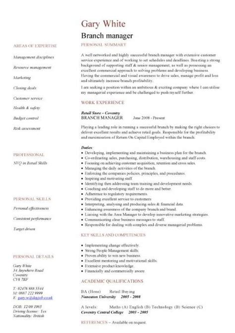 resume format for branch manager management cv template managers director project management cv exle