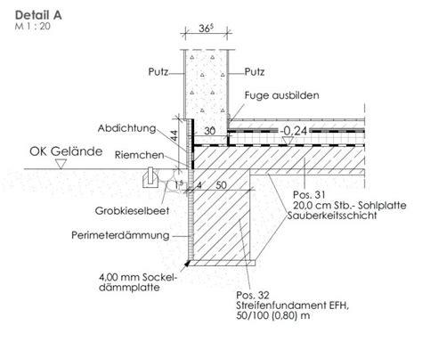 bitumen abdichtung sockelbereich streifenfundament detailzeichnung gestaltungsinspiration