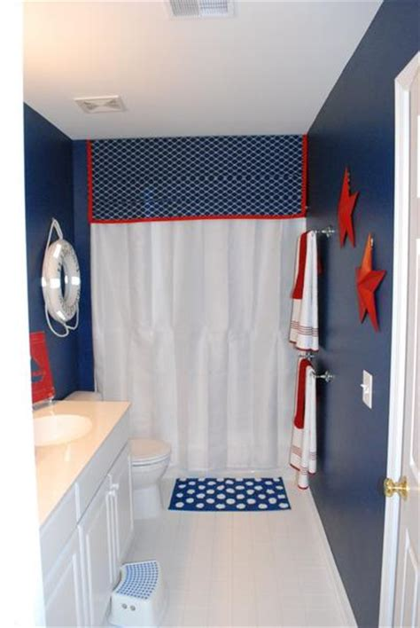 american inspired red white blue bathrooms rotator rod