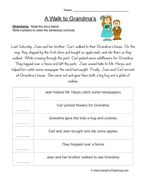 sequencing worksheets paragraphs sentence strips free