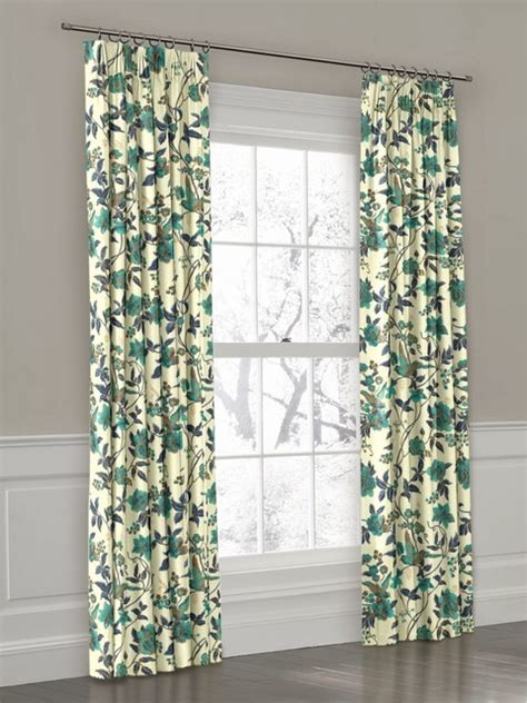 blue white pleat drapery eclectic curtains