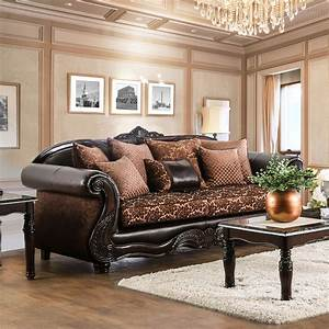 Furniture, Of, America, Maldino, Traditional, Style, Intricate, Wood, Carved, Sofa