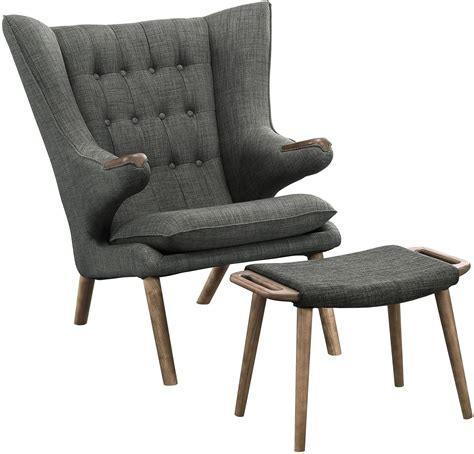 gray chair with ottoman bear walnut gray lounge chair with ottoman from renegade