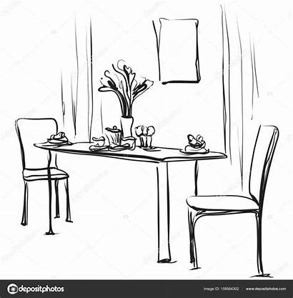 Dining Table Coffee Illustration Vector Sketch Hand