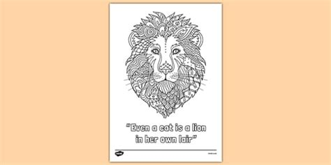 lion quote mindfulness colouring poster lion quote