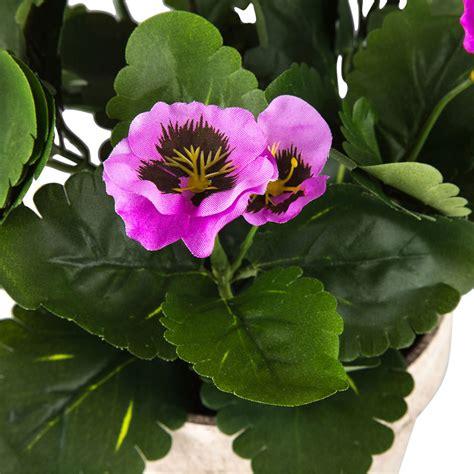 artificial purple pansy flowers  pot set   home