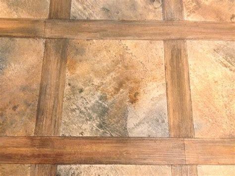 Wood concrete overlay rustic basement