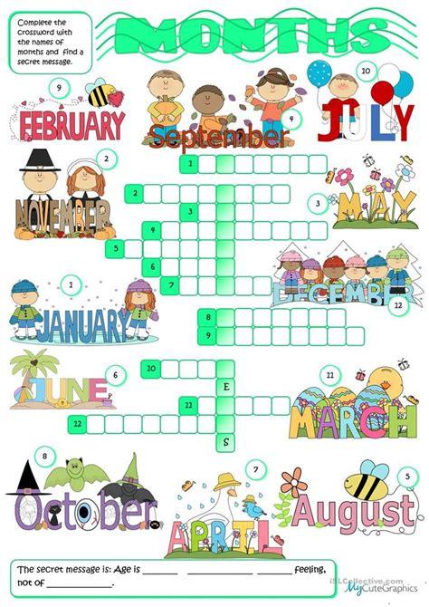 months crossword worksheet  esl printable