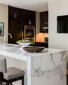 Marble Island Kitchen Marble Waterfall Island Modern Kitchen Elms Interior Design