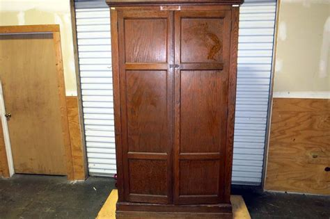 Large Wooden Wardrobe by Lot 114 Large Wooden Cabinet Wardrobe Wirebids