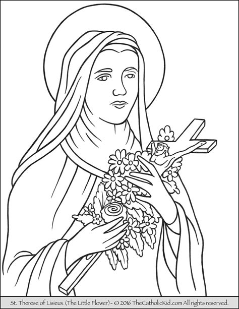 ste da colorare therese of lisieux flower coloring page