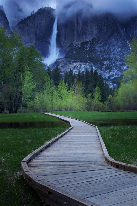 Follow The Wooden Plank Road Waterfalls Yosemite