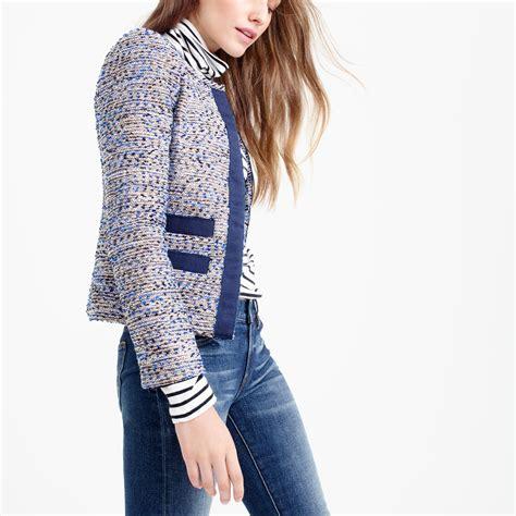 jcrew petite metallic tweed jacket  grosgrain trim lyst