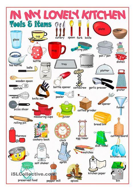 list  names  kitchen items  english