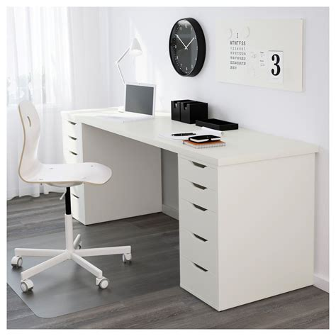 ikea table bureau linnmon table top white legs and spaces
