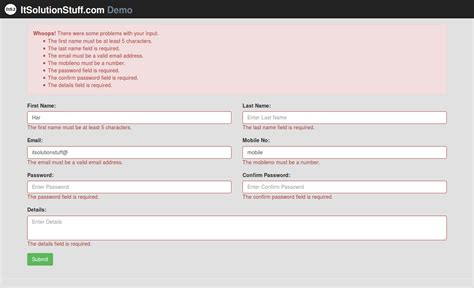 laravel  form input validation rules   demo