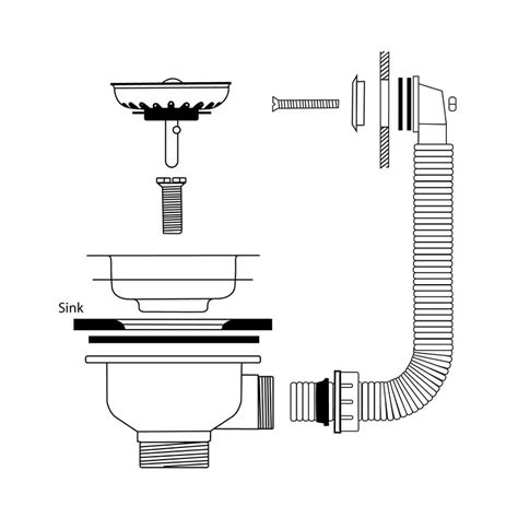 fitting kitchen sink waste caple cpk500 stainless steel waste and overflow kit 7216