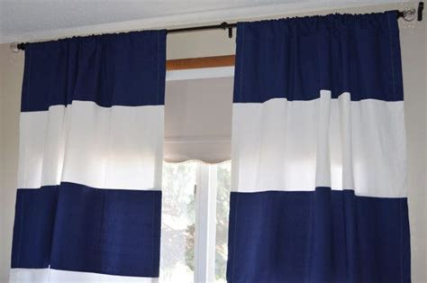 free shipping navy blue and white striped curtains 50x84