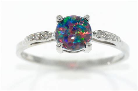 Opel Ring by Black Opal Ring 925 Sterling Silver Rhodium