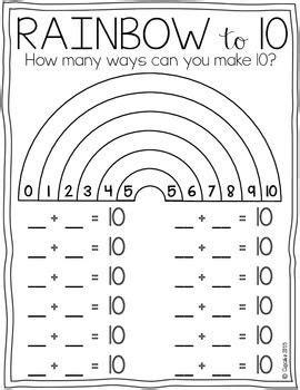 rainbow to 10 freebie 1st kindergarten math