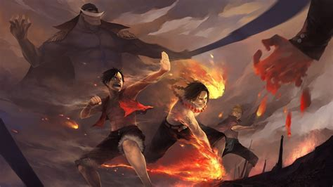 Anime, One Piece, Monkey D. Luffy, Portgas D. Ace