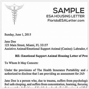 Emotional support dog sample letter cover letter samples for Emotional support animal letter florida