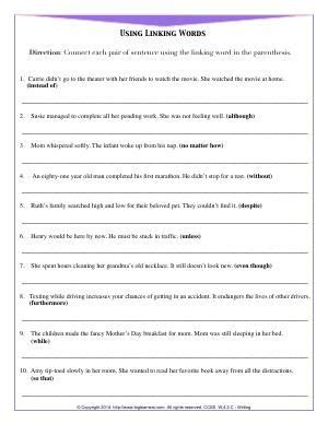 worksheet using linking words connect each pair of