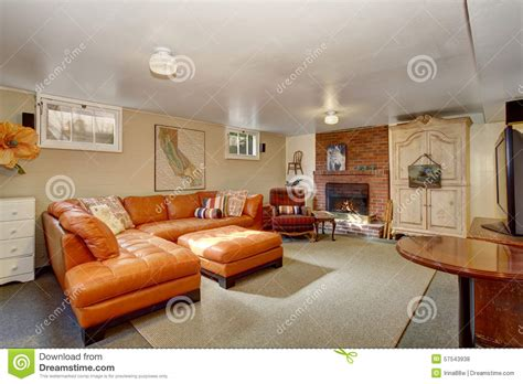 Secondary Living Room With Orange Couch. Stock Photo Kitchen Designer Tool Dark Kitchens Designs Masters Design White Modern New For A Small Home Interior